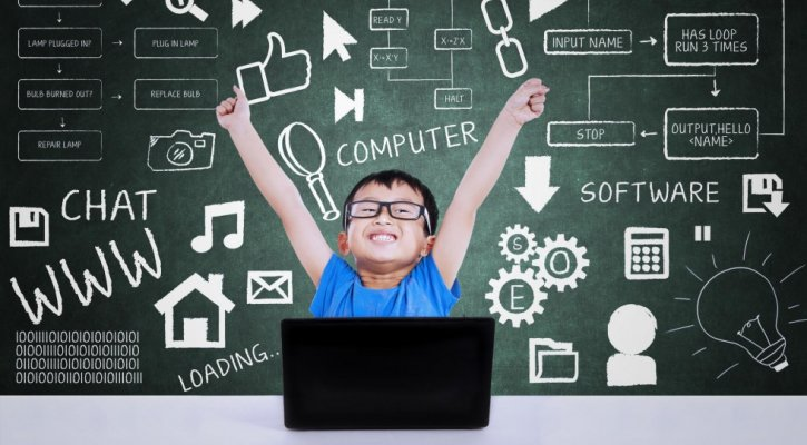 happy boy coding